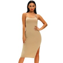 Buy Fleshcolor blue bodycon dress midi sleeveless side slit simple dress designs hot sexy club dress women summer clothing A61039 for $13.23 in AliExpress store