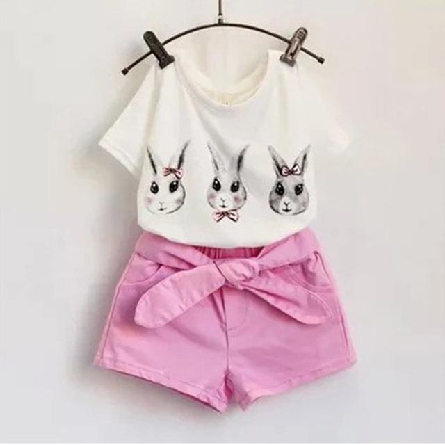 2016 летний новый девушки одежда устанавливает кролика дикого футболка + шорты костюм детская одежда