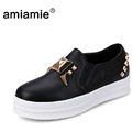 2015 Spring Women Shoes PU Platform Shoes Metal Rivets Red Black White Loafers Shoes a Pedal