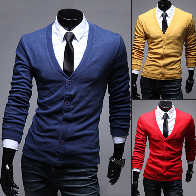 2014 fashion Korean Men's Male spring Slim casual long-sleeved Cardigan sweater coat man V-neck wool clothes Bottoming shirts - PCHOME store
