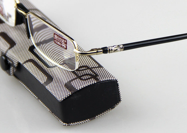 Gold Half Frame Reading Glasses : High Quality Small Classic Rectangle Gold & Black Half ...