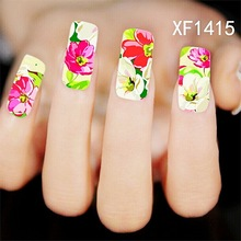 Water Transfer Nail Art Stickers Decal Beauty Beige Red Flowers Oil Painting Design DIY French Manicure Foils Stamping Tools