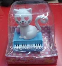 Free shipping via EMS  10pcs per lot    solar  powered gift   white  cat  head nodding shaking tail under sunshine(China (Mainland))