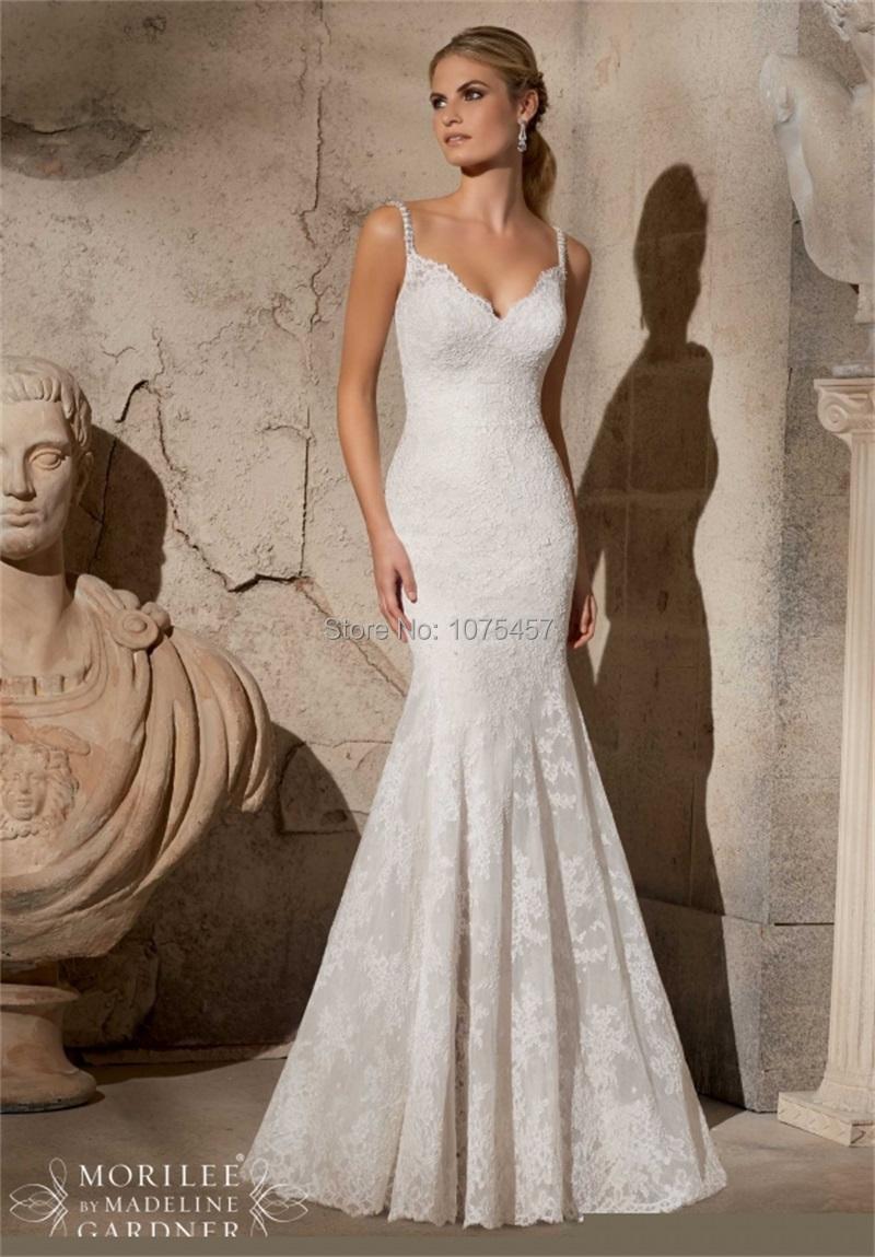 Latest design mermaid wedding dress 2015 v neck spaghetti for Low cut mermaid wedding dress