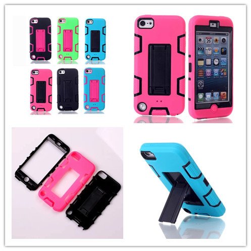For Apple iPod Touch 5 5th 3 in1Hybrid Rugged Anti-knock Shockproof Silicon+PC Impact Protective Combo Case Cover With Stand(China (Mainland))