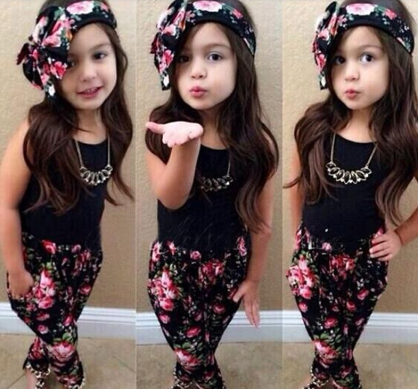 2 7Y Girls Baby Clothing Sets 3PCS Sleeveless Shirt Tops Floral Pants Headband Vogue Clothes Free