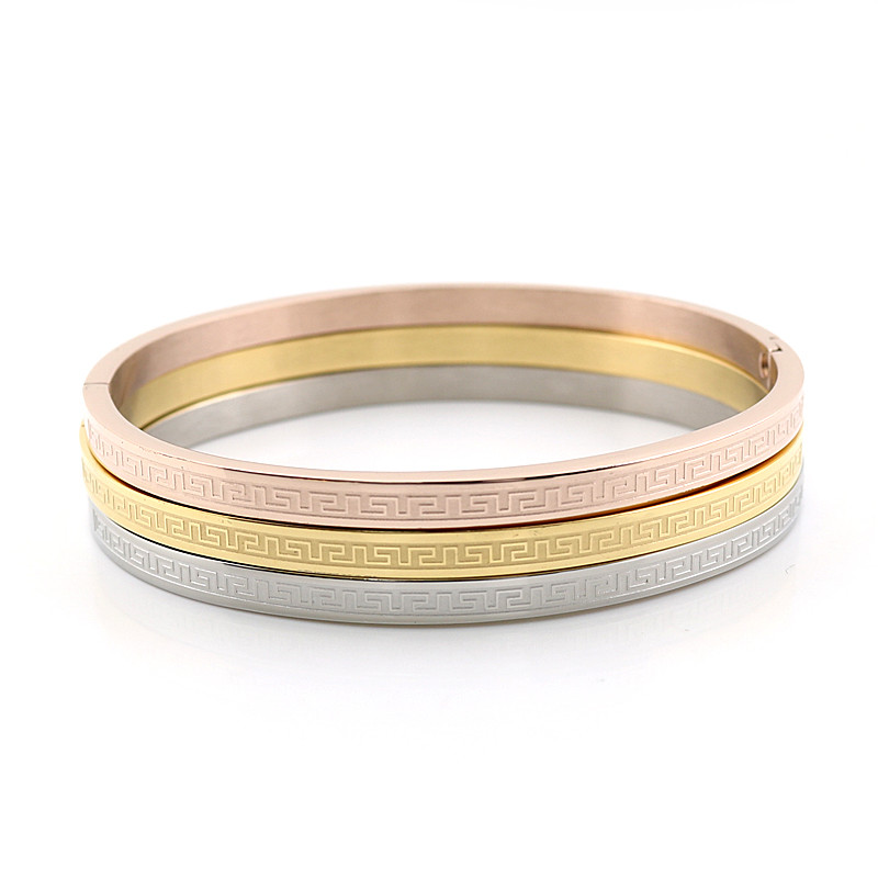 Three Pcs One Set Stainless Steel Rose Gold Couples Bangle Ring Carving Greek Key Love Fashion Cuff Bangles&Bracelets - LOVE ZM Jewelry store
