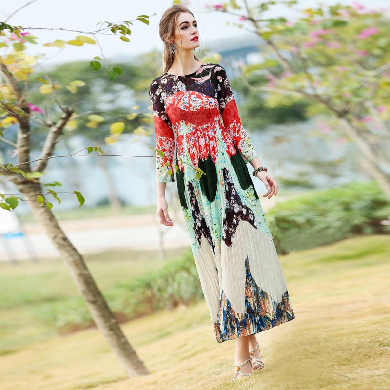 Elegant 2016 Women Long Spring Dresses Women's Fashion Silk Print Long Pleated Chiffon Dress Female Brand Maxi Runway Dresses