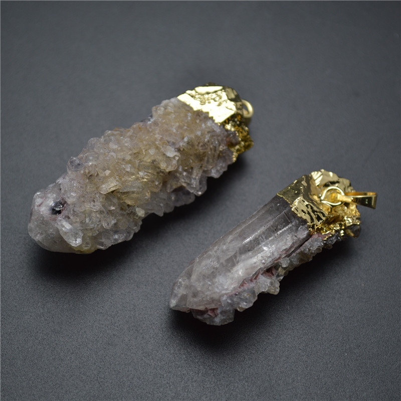 Natural Rough Gray Crystal Pillar Point Pendant 18k Gold Plating Color Mineral Jewelry(China (Mainland))