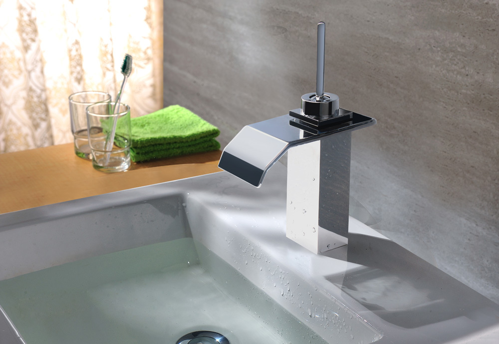 New Modern Chrome Stainless Steel Waterfall Bathroom Sink Lav Faucet(China (Mainland))