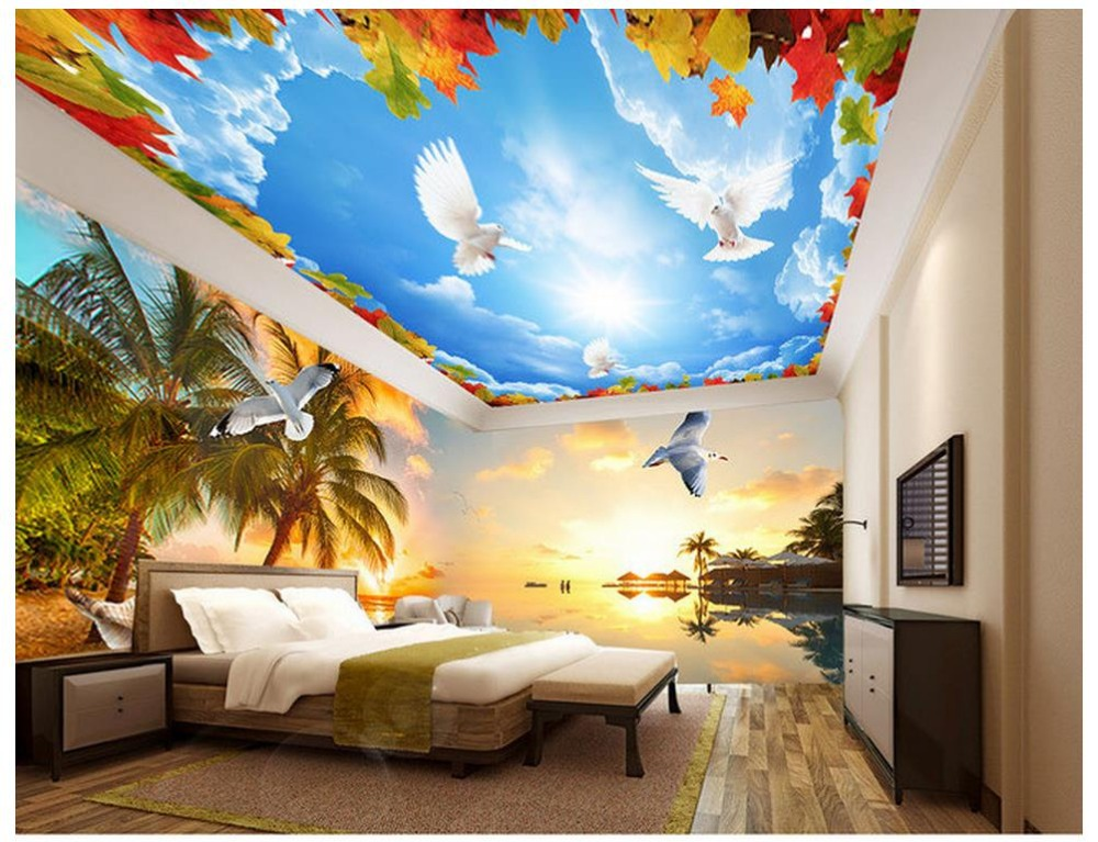 Online get cheap beach themed bedding for Beach themed mural