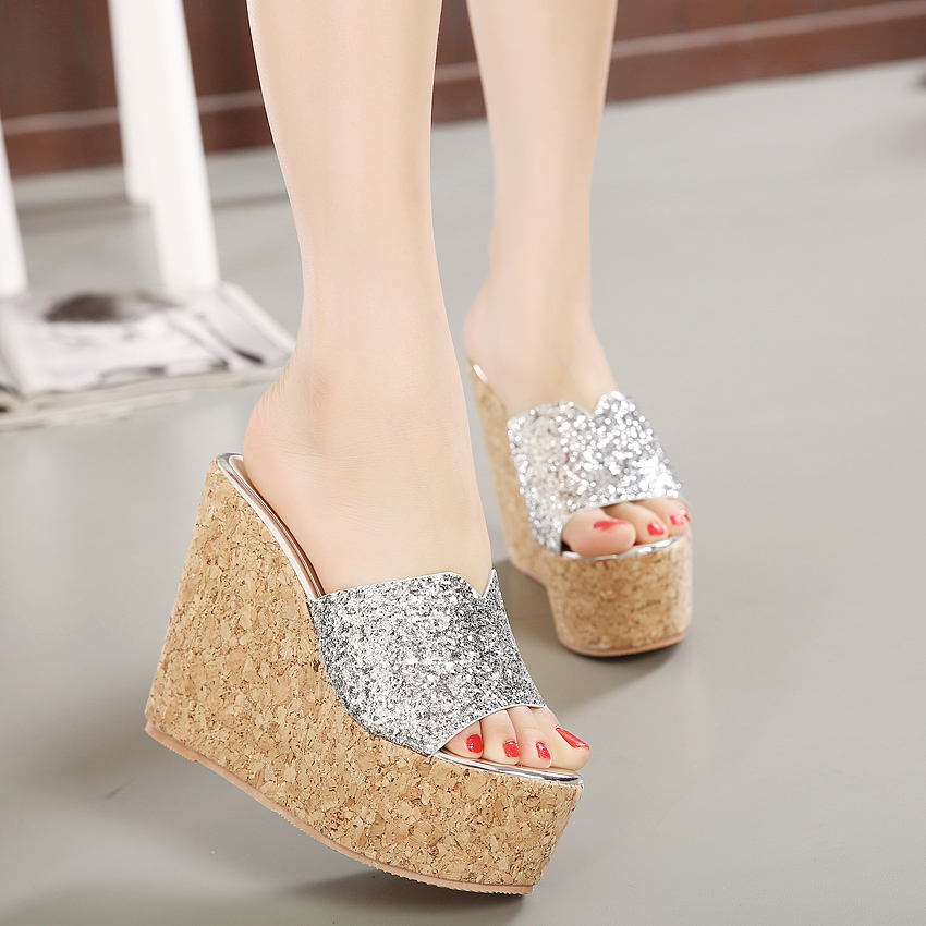 2016 Fashion Sequins High Heel Slippers Women Summer Shoes Suede Platform Sandals Ladies Wedges Sandals Brand Flip Flops S3041(China (Mainland))