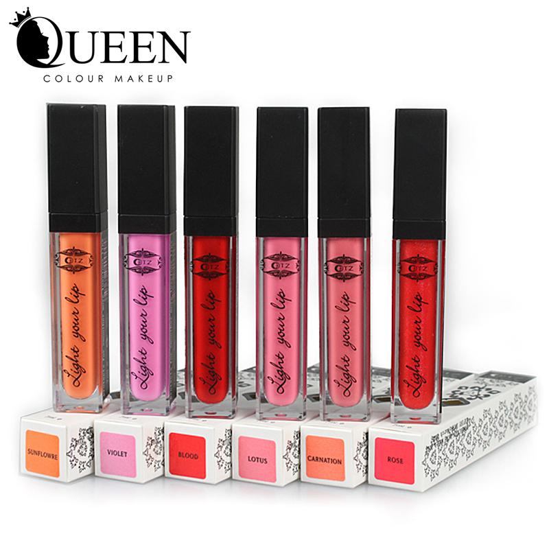 LED light Minerals Lip gloss Lipsticks Lipgloss Shine Makeup Mix Color Matte Colored Lipstick Brand Lip Stick(China (Mainland))