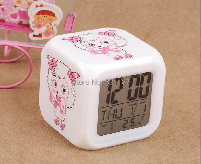 7 LED Colour Changing Digital LCD Alarm Clock Thermometer Date Time Night Light - Guo 2015 store