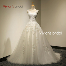 Vivian's Bridal Real Photo A-Line Scoop Neck Lace Up Sweep Train Wedding Dress 2016 With Beaded mariage Wedding Gowns SA006(China (Mainland))