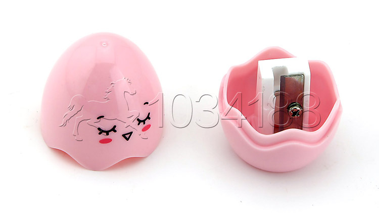 Cute Egg Shape Plastic Case Pencil Sharpener Pink(China (Mainland))