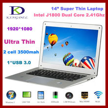 Kingdel 2015 New Intel Celeron J1800 Dual Core 2.41-2.58Ghz CPU 1080P 14″ Ultra Laptop Computer, 2GB RAM 250GB HDD,USB 3.0,Win 7
