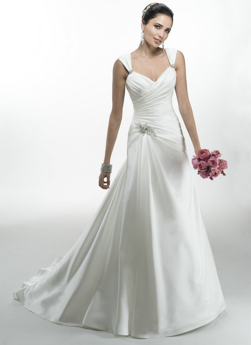 Fluffy wedding dresses ivory satin cap sleeve cheap for Usa wedding dresses online