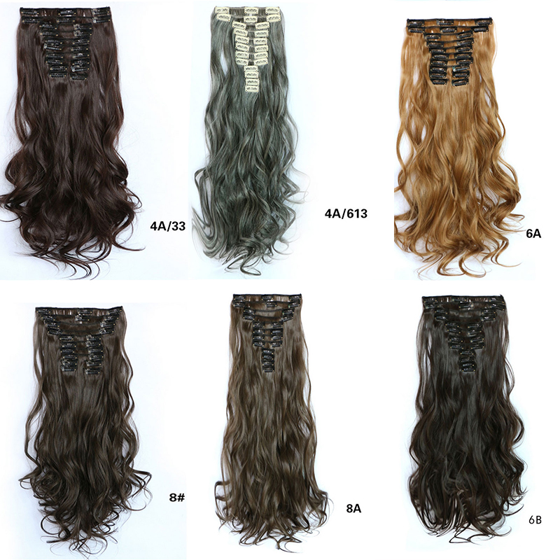 100% High Quality 12Clips Heat Resistant Synthetic Clip in Hair Extensions 60cm Long Curly Women Hairpiece Hair Piece Wiglets<br><br>Aliexpress