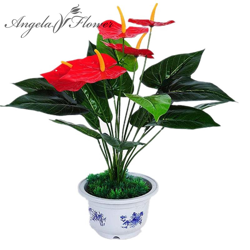 Buy diy artificial potted anthurium silk for Angela florist decoration