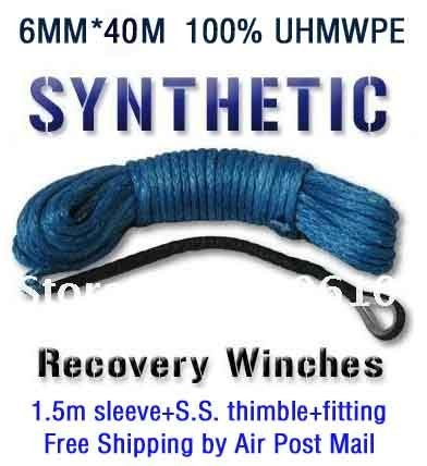 New Strong 100% UHMWPE Synthetic Winch Cable/Rope 6MM*40Meter W/T for 4WD/ATV/UTV/SUV Winch Use////free shipping