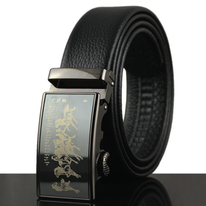 Automatic Buckle Black Wholesale HOT Fashion MEN's Leather Waist Strap Belts free shipping believe you see high quality ZD90(China (Mainland))