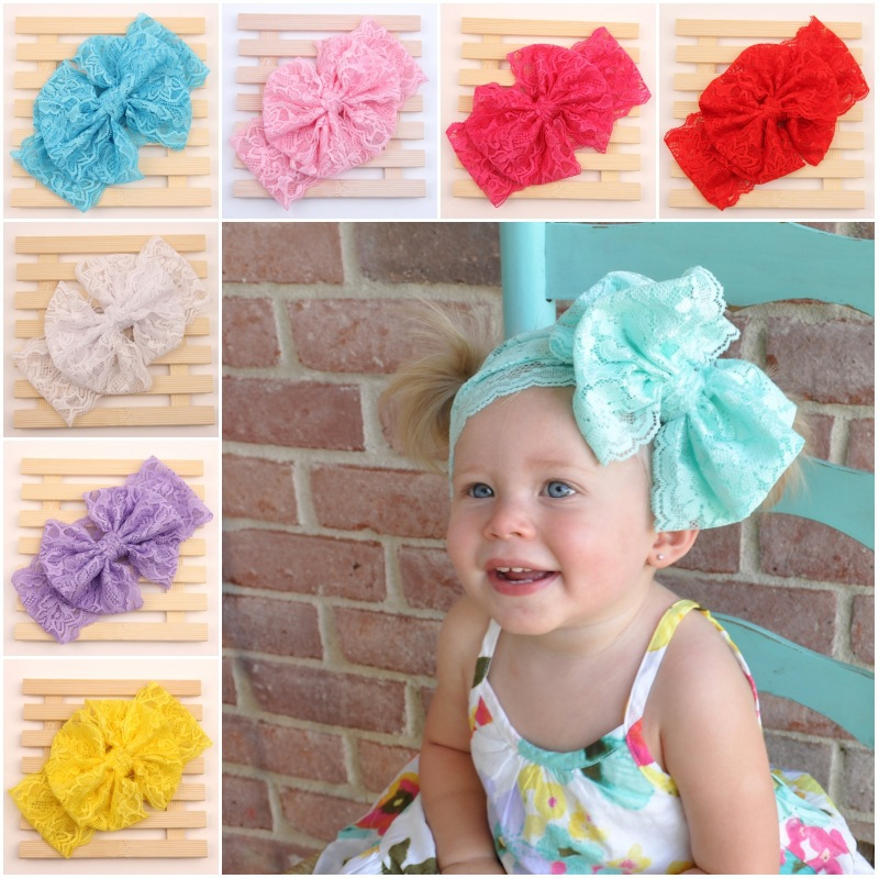 10pcs / lot 7colors 2015 Hot Sellers Lace Headwrap girl messy bow headband elastic lace band Vintage baby HeadWrap(China (Mainland))