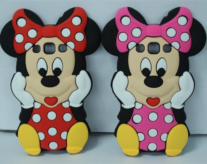 3D Cute Minnie Soft Silicone Back Cover Rubber Phone Case For Samsung Galaxy Win I8552 Free Shipping(China (Mainland))