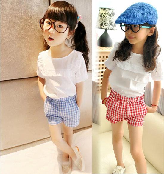 BK-193, 5 sets/lot, summer Children girls clothing sets, short sleeve shirts + plaid shorts<br><br>Aliexpress