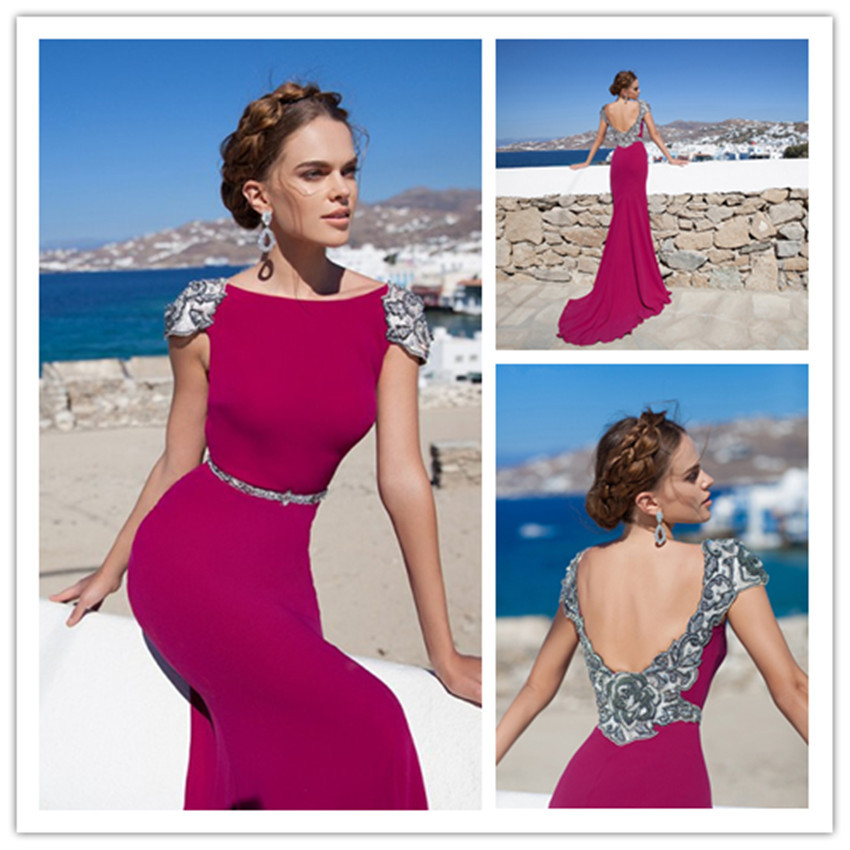 2015 long red evening dress line floor length beading scoop cap sleeve vestidos de festa vestido longo - Love yarn store