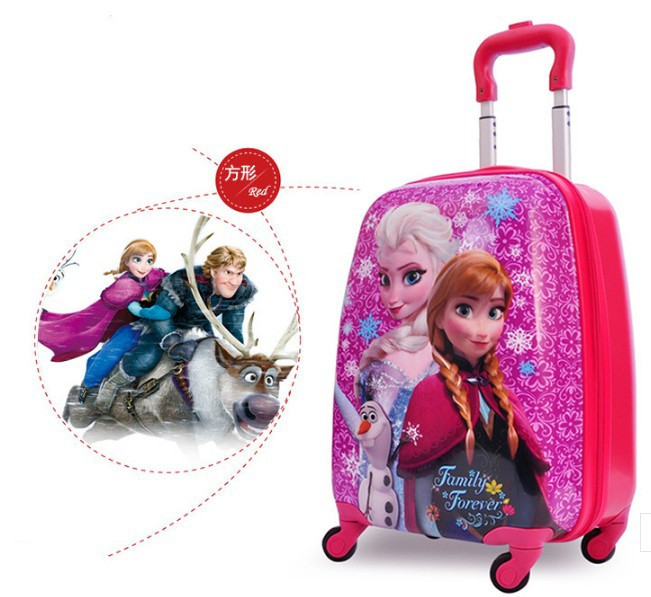 2015 elsa Anna stereo children girls luggage suitcase cartoon 18 wholesale Pull rod box school bag Christmas gift<br><br>Aliexpress