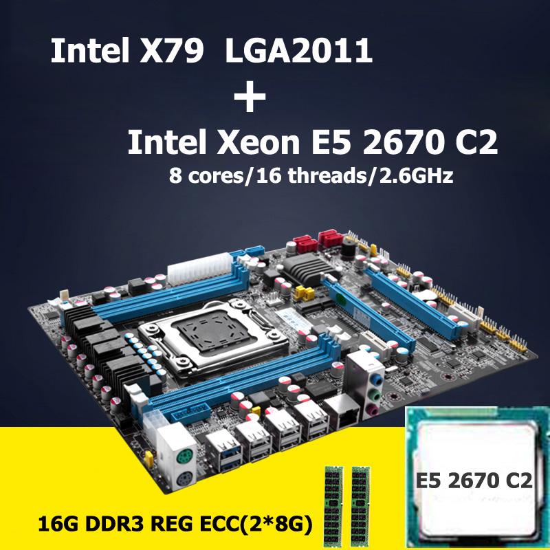 HUANAN motherboard CPU kit version 2.47 Intel X79 LGA 2011 motherboard with CPU Xeon E5 2670 C2 SROKX (2*8G)16G DDR3 REG ECC(China (Mainland))
