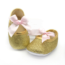 2015 gold baby shoes princess First Walkers bling pink Soft Sole Girls sneaker infant Butterfly-knot Moccasins(China (Mainland))