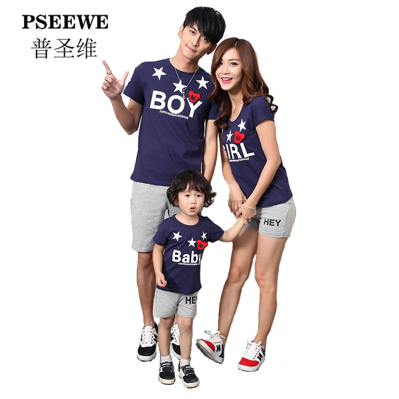 PSEEWE 2016 family matching outfits newest design family matching mother and daughter clothes father and son shirts familylook(China (Mainland))