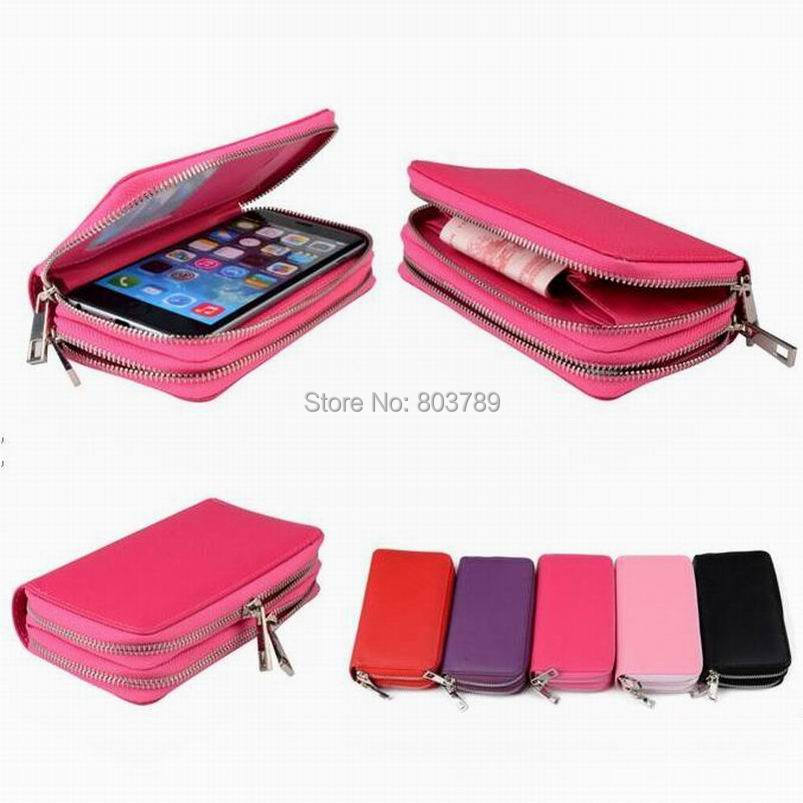 50pcs 170x90mm Leather Wallet Pouch Universal Phone Case for iPhone 6 6s plus Samsung S6 Edge Xiaomi Redmi Note 3 2 or Smaller,