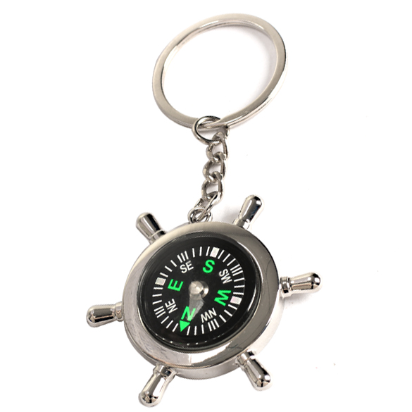 Wheel Shape Brass Watch Style Ring Keychain Compass Outdoor Camping Hiking Key Ring Compass(China (Mainland))