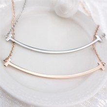 Lose Money Promotion Wholesale Hot Selling Titanium Steel Rose Gold Silver Plated Smile Short Necklace Woman Fashion Jewelry(China (Mainland))