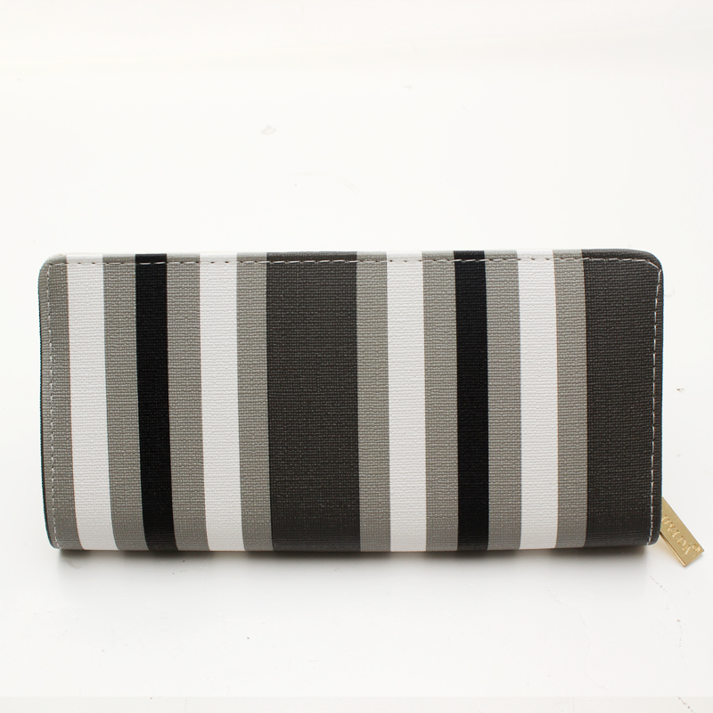 Hot Selling Stripe Wallet Long Design Women Wallets Leather High Grade Clutch Bag men Zipper Coin