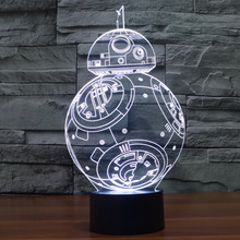 3D Illusion Lamp LED Light Star Wars BB-8 Robot Acrylic Colorful Gradient Atmosphere Lamp Novelty Anime Fans To Collect Toys(China (Mainland))