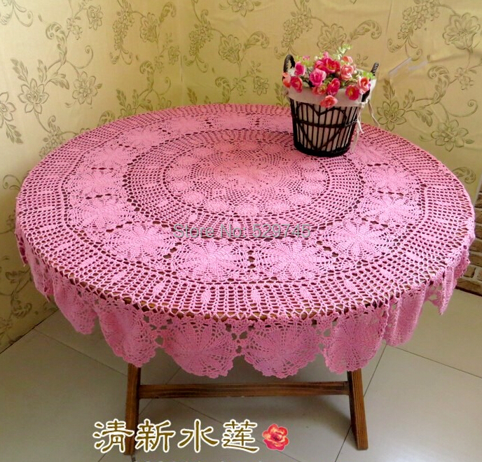 Christmas decoration Handmade Crochet flowers Pink Round Tablecloth Table cloth Cotton hollow woven Doilies Bed Cover cloth(China (Mainland))
