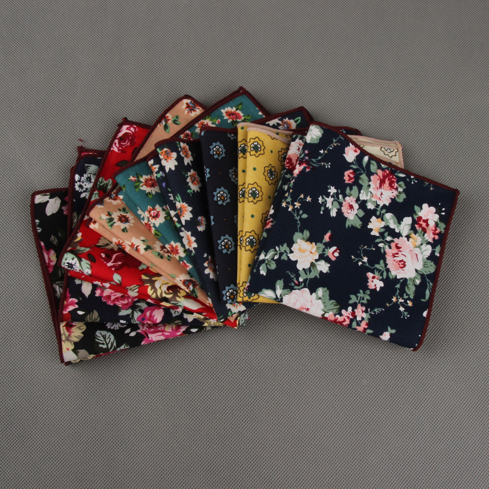 Pocket Square Wholesale 2016 Vintage Floral Cotton Polyester Hankies Handkerchief Pochette Costume For Men Wedding Party(China (Mainland))