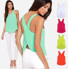 Summer Fashion 2016 Women Tank Solid Color Ladies chiffon blouse Sexy Sleeveless Backless Strap Tank Tops 5 Color(China (Mainland))