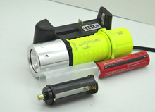 20set Diving CREE T6 1800LM yellow LED light Waterproof Underwater Flashlight Lamp Torch 3 Mode super LED +18650+charger(China (Mainland))