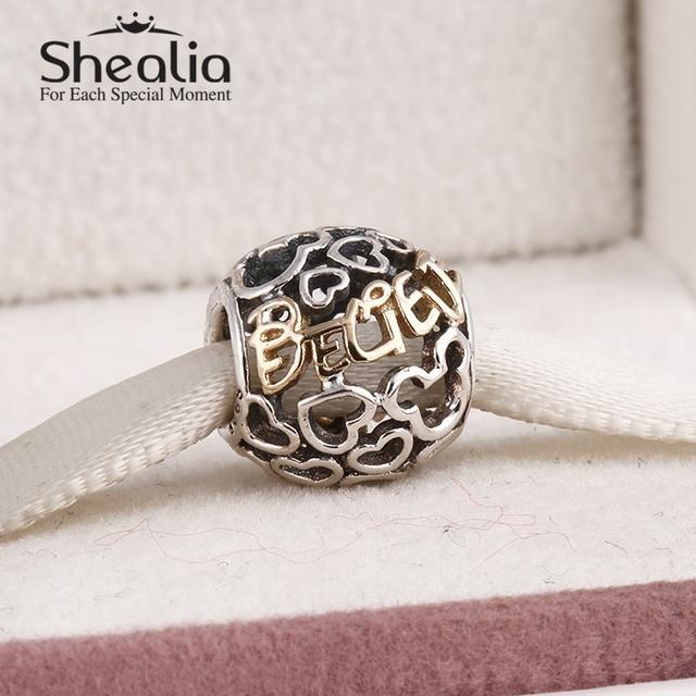 925 чистое серебро и 14 k настоящее золото микки в форме сердца подвески-талисманы ажурные письма из поверьте подвески-талисманы для своими руками браслеты SH0559