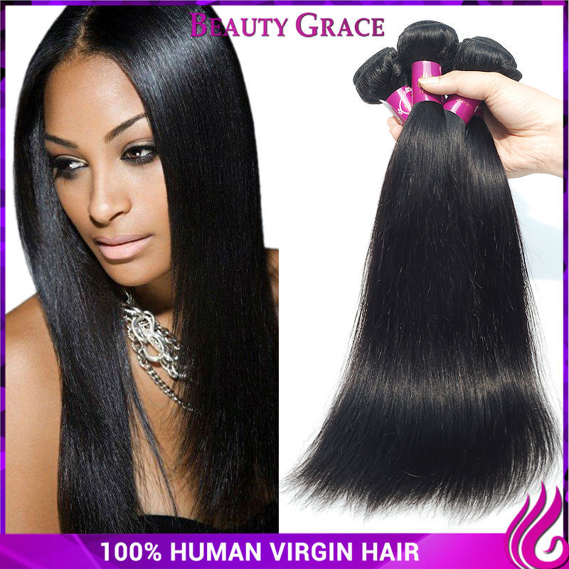 Straight Brazilian Virgin Hair 3 Bundles Beauty Grace Hair Company 6a Brazilian Virgin Straight Human Hair Extensions Uk(China (Mainland))