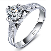 18K White gold plated ring wedding jewelry CZ diamond rings for women classic engagement accessories wholesale top sale LSR0755