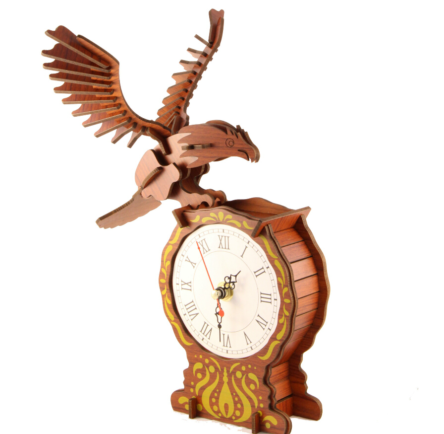 Eight Hardcover Mahogany Bamboo 3D Jigsaw Puzzle Wooden Clock Simulation Model On The Battery Can Be Used(China (Mainland))