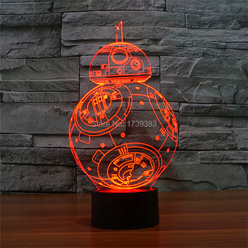 FREE SHIPPING 2016 new T touch colorful BB8 star wars light holiday decoration 3D BB 8