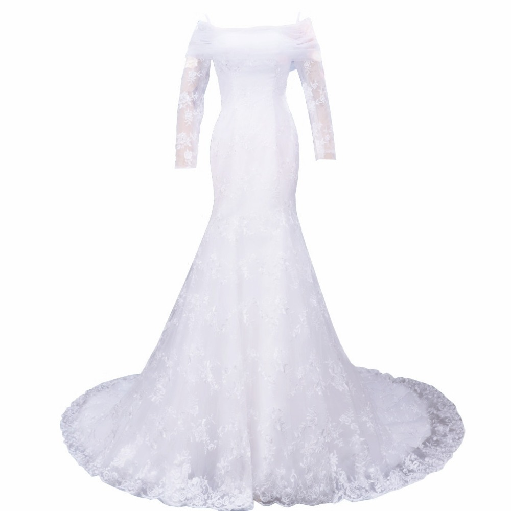 Sheer long sleeves lace wedding dress off shoulder white for White corset wedding dress