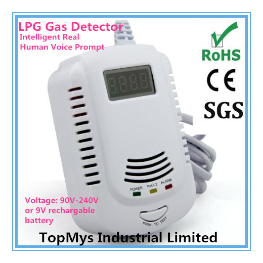 Free Shipping 100pcs/lot NEW ARRIVAL Home security Safety Intelligent Real Human Voice Prompt LPG Gas Detector with LCD Display